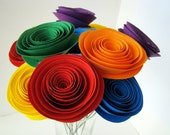One Dozen Spiral Paper Roses with Stems - Rainbow Roses