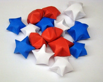 100 Origami Lucky Stars - Red White and Blue - Solid Colors