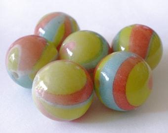 16mm Multicolor Stripe acrylic beads - 8pcs