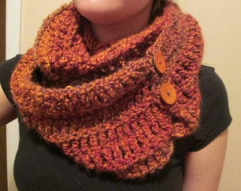 Oversized Cowl with Buttons, Women's Winter Accessories, Multicolor Scarf, Infinity Scarf