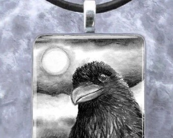 Pendant 1x1, Square, Tray, Jewelry Necklace Bird 64 Crow Raven art painting by L.Dumas