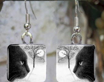 Art Glass Earrings Jewelry Square black Cat 590 painting by L.Dumas