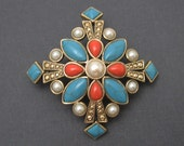 Vintage Brooch Turquoise Coral Pearl Cross Monet P5799