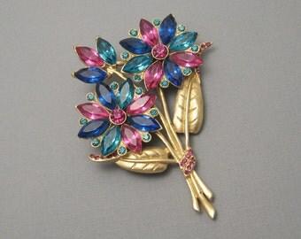 Forties Rhinestone Flower Brooch Vintage Jewelry P5611