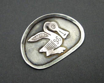 Vintage Sterling Brooch Precolumbian Duck Peru Jewelry P5846