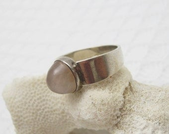 Sterling Ring Domed Rose Quartz Jewelry R6097