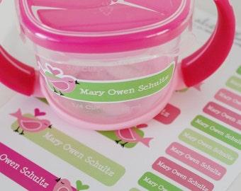 lime lovebirds personalized dishwasher safe labels, set of 36