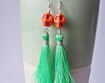 Lady Catrina Earrings in Grass Green  - Silk Tassel Earrings.