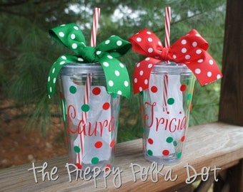 Personalized 16oz CANDY CANE Straw Tumbler Cup