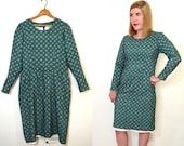 SALE 1960s Mod Dress - Green and Blue Geometric Print Dress - Long Sleeve Dress