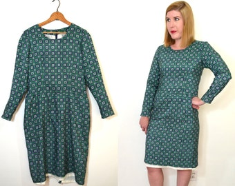 SALE 1960s Mod Dress - Green and Blue Geometric Print Dress - Long Sleeve Dress