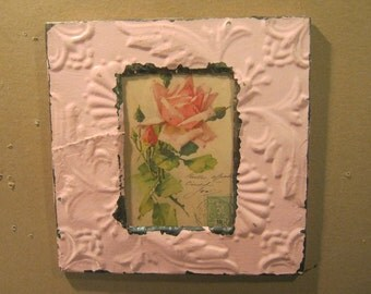 Authentic Recycled Tin Ceiling 4x6 Picture Frame Pale Pink Reclaimed Photo  S1537-13