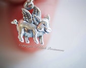 Flying Pig Necklace - Sterling Silver Piggy Charm Pendant - Free Domestic Shipping