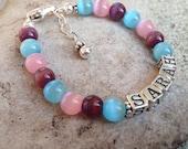 Girl/Child Name Bracelet- Sterling Silver, Cat's Glass Beads- birthday, flower girl