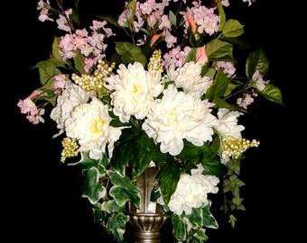 Peony Silk Flower Arrangements Delphiniums, Salal Bush, Cottage Chic Couture, Centerpiece