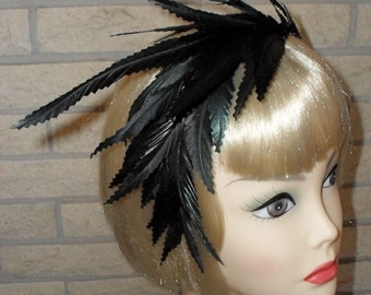 Sale was 32.00 Now 16.00 Ready To Ship Black Feather Fascinator Headband by Taissa Lada Designs,Gothic, Steam Punk, Bridal Feather Headband