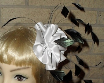 Custom Made White and Black Feather Fascinator By Taissa Lada, Bridal Fascinator,Pageant, White Sarin Rosette, Black Coque Feathers,Bridal