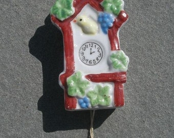 Vintage Antique Miniature Cuckoo Clock Birdhouse Wall Pocket Made in Japan with Chime