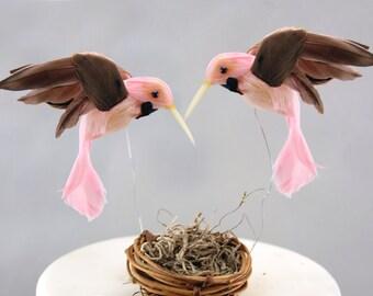Hummingbird Wedding Cake Topper in Carnation Pink: Gay Love Bird Cake Topper -- Two Grooms