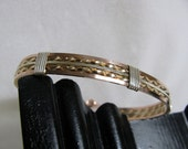 Sterling Silver, 14K Yellow GF and Rose GF Wire Bracelet RKS387
