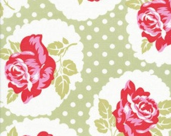 Tanya Whelan Fabric - Lulu Rose in Green- 1 YARD Fabric