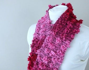 Loopy Pink and Burgundy Ombre Scarflette - Hand Knit by Me
