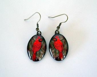 Bird Jewelry Earrings Cardinal Red Antique Brass School Mascot Oval Art Glass