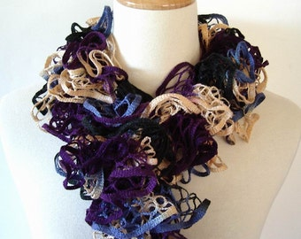 Ruffle Fashion Scarf Knit Crochet Cream Purple Blue Starbella Yarn