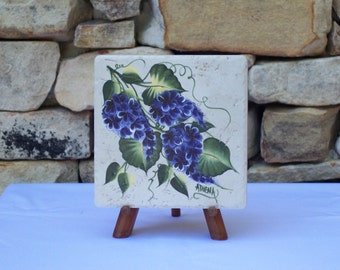 Hand Painted Tile Trivet with Purple Hydrangea