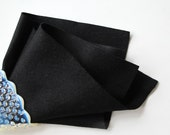 Black Wool Felt, 100% Merino, Choose Size, Waldorf Handwork, Quilt Applique, Penny Rug, DIY Craft Supply, Nonwoven, Washable, Wollfilz