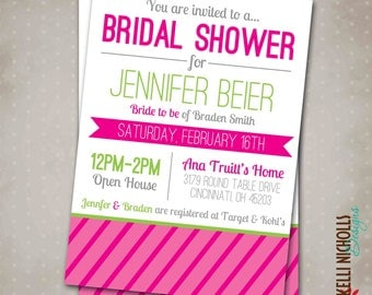 Pink and Lime Green Spring Bridal Shower Invitation with Modern Stripes - Printable, Customizable