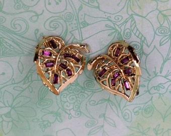 Earrings Vintages Faux Amethyst Rhinestone Screw Backs