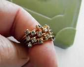 Ring, Vintage Crystal Ring, 1970s Stack Ring, Gold Toned Multi Band Ring