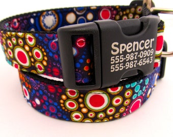 Effervescence Bubbles-- custom made dog collar in an array of bold colors, with personalized engraved pet identification