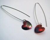 Copper heart shaped drop earrings