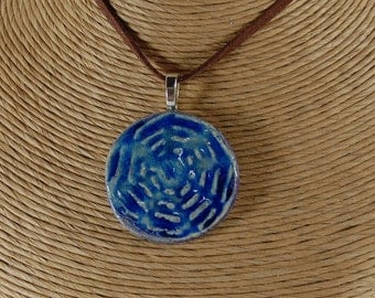 Cobalt Blue Glass Infused Pottery Pendant Necklace With Silver Tone Bail And Necklace J60
