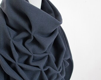 geometric cotton shawl - sculptural wrap - triangular, sweatshirt fabric