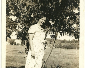 Vintage Photo Pretty Woman In Print Dress Under Tree In Field Black And White Photograph