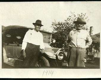 1914 Vintage Photograph Pops And Gramps In Hats By Antique Car Man Cave Home Decor Photo