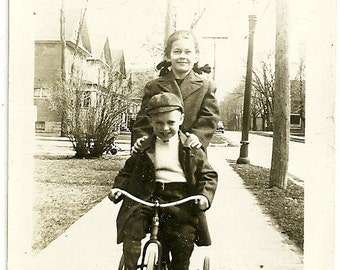 Vintage Photograph Little Brother Takes Big Sister For Ride On Tricycle Snapshot Photo