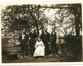 Vintage Photo Mama And Gang Of Sons In Orchard Antique Edwardian Photograph