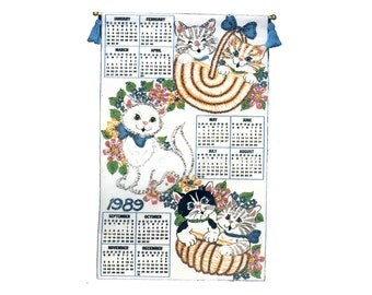 "Bucilla Jeweled Felt Calendar Kit Cats In A Basket 16"" X 26"" Hanging Calendar Craft Kit with Hardware Cute Cats Kittens Flowers Bright 1989"