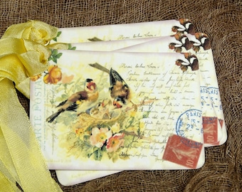 Birds In Nest Postcard Tags #438