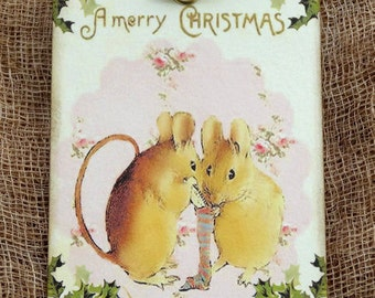 Merry Christmas Mouse Stocking Tags #25