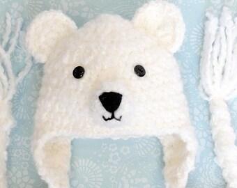 Bear, Bear hat, Crochet Bear hat, Polar Bear hat, white bear, animal hat, Halloween hat, crochet bear, baby hat, toddler hat, adult hat