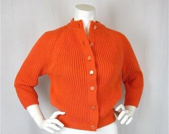 Vintage 60s Orange Crush Sweater, Sz S