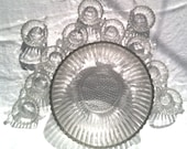 Stylish vintage/antique glass punch bowl set. 12 piece.