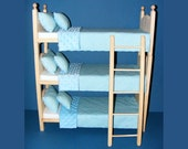 "Stackable Triple Doll Bunk Bed and Ladder with Frozen 12 pc Snowflakes Bedding Set for 18"" Dolls American Girl Journey Girls Maplelea Dolls"