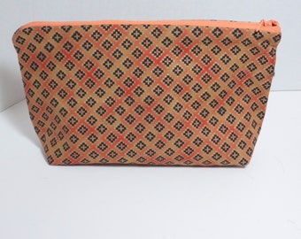 Tribal Print Cosmetic bag - Cosmetic Pouch - Flat bottom pouch
