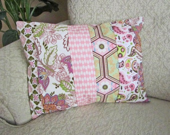 Pink Patchwork Pillow Cover, Pink Nursery Decor, Cottage Chic Decor, Shabby Chic Pillow Cover, Floral Cushion Cover - 12 x 16